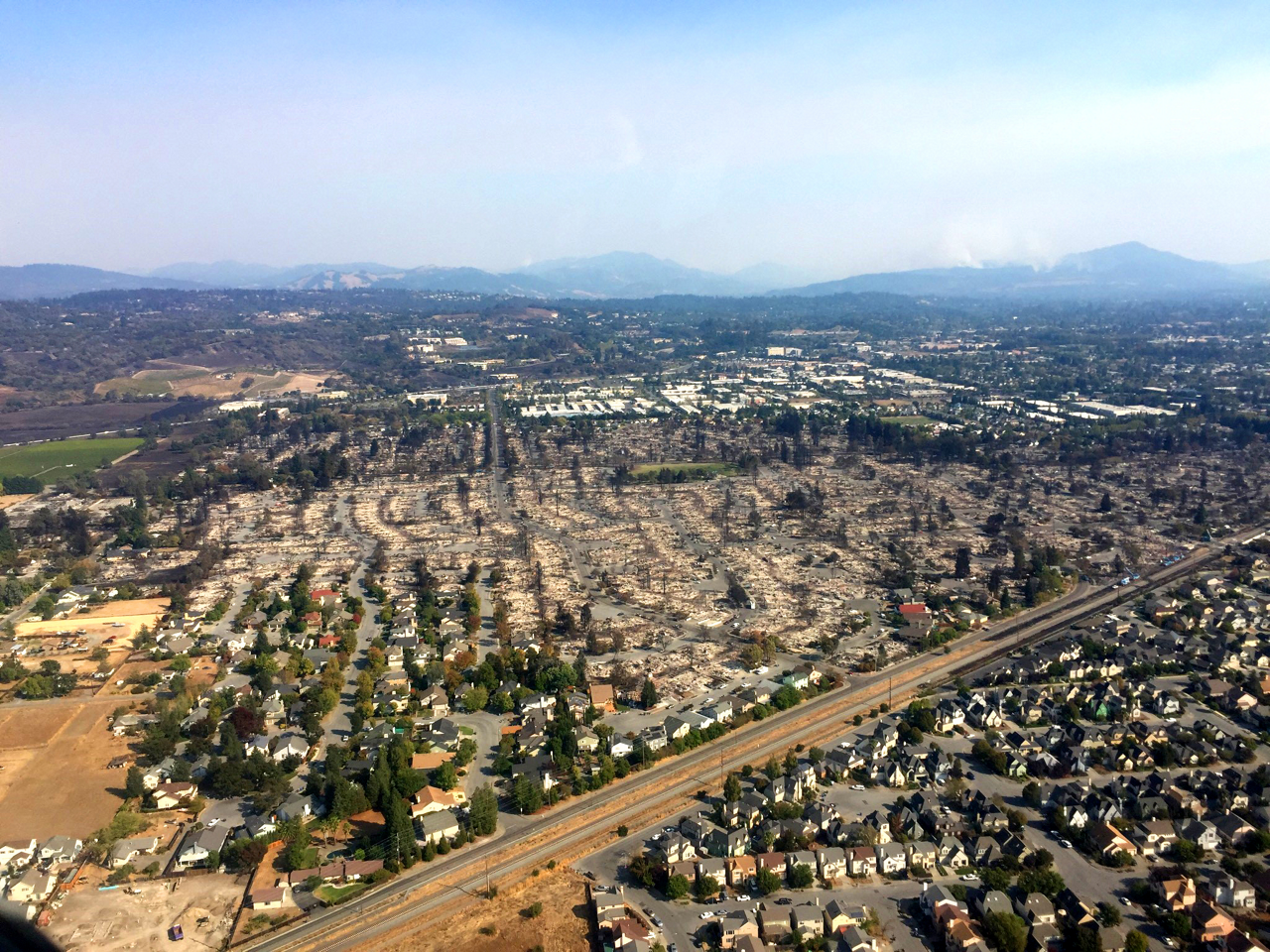 A large section of the city of Santa Rosa in Sonoma County, California, was burned, including the Coffey Park neighborhood.