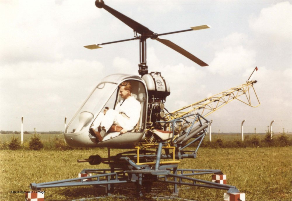 A photo of the ground-based Bo102 Helitrainer prototype.