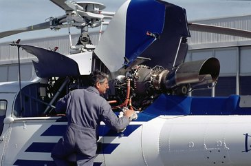 Helicopter Maintenance Outdoors
