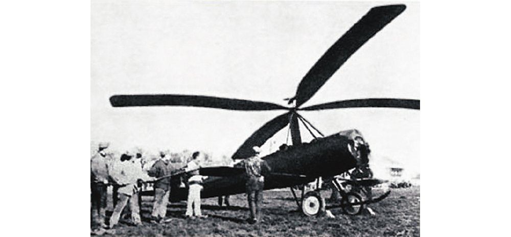 A photo of the Jorge Loring company's first-produced autogyro aircraft in 1923.