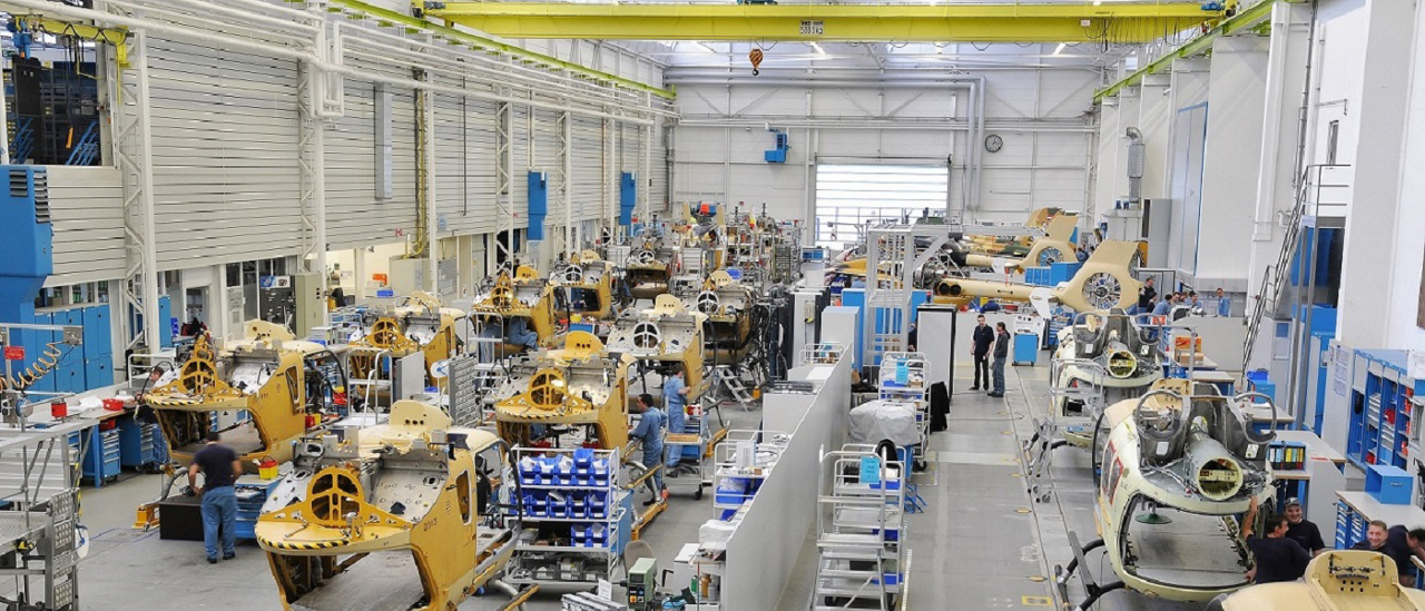 A wide-angle view of activity inside Airbus' main helicopter production site in Donauwörth, Germany.