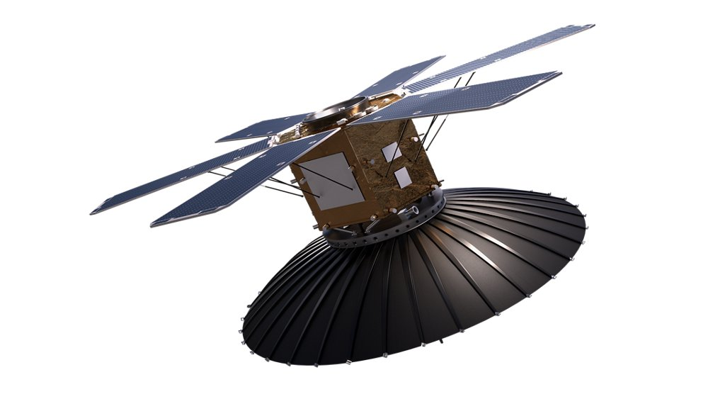 A rendering of Airbus' high-power S850 Earth observation radar satellite.