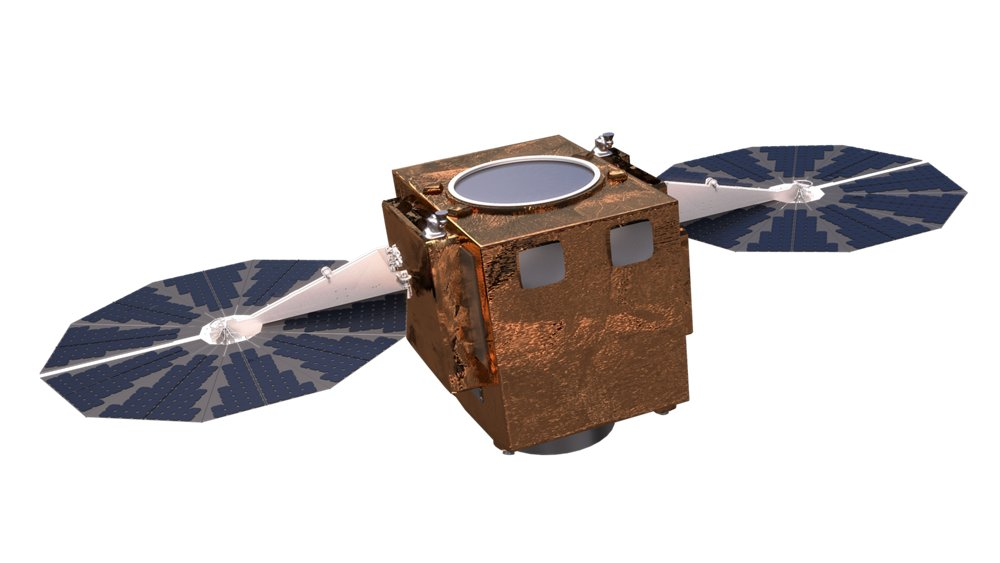A representation of the Airbus-produced S250 radar satellite for Earth observation.