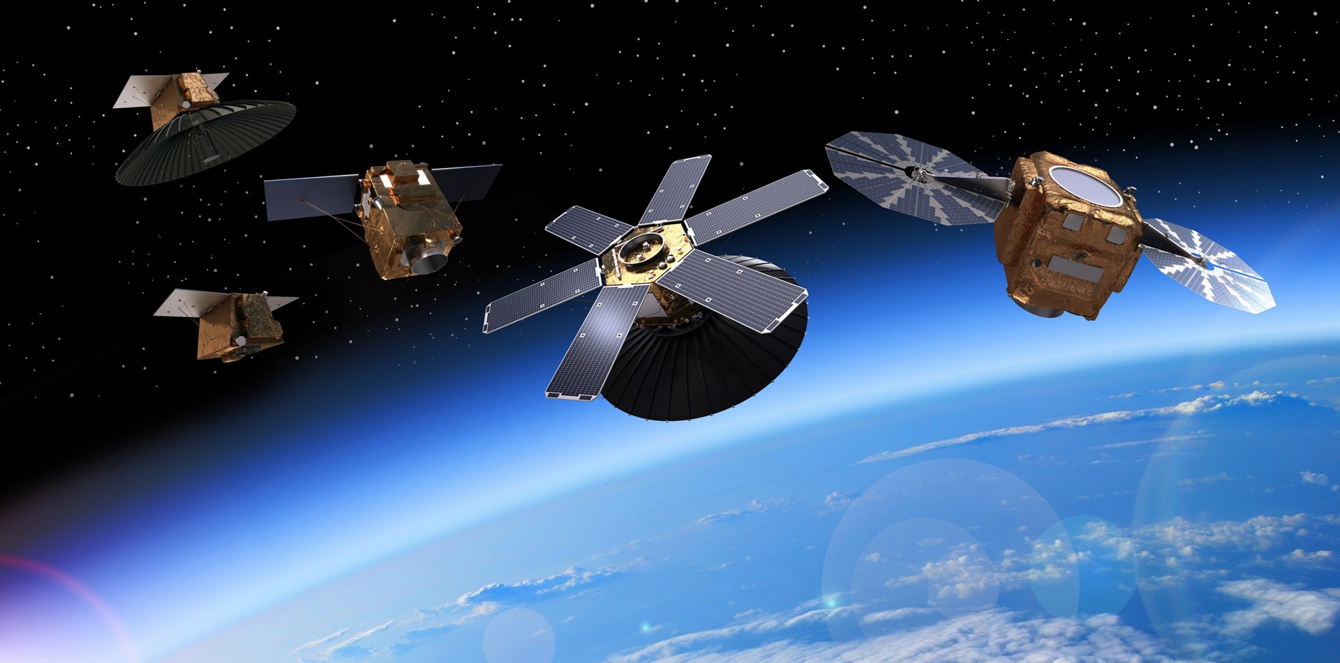 A computer rendering showing the multiple types of Earth observation satellites produced by Airbus.