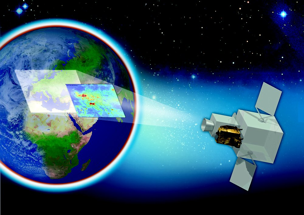 The Sentinel-4 Earth observation satellite, produced by Airbus, is depicted in orbit in this diagram.