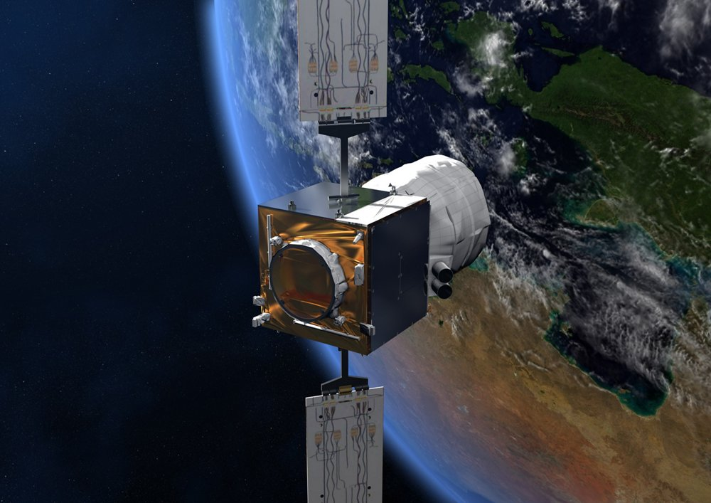 A computer rendering of Aeolus, the Airbus-produced Earth explorer satellite launched in 2018 to provide global observations of three-dimensional wind fields.