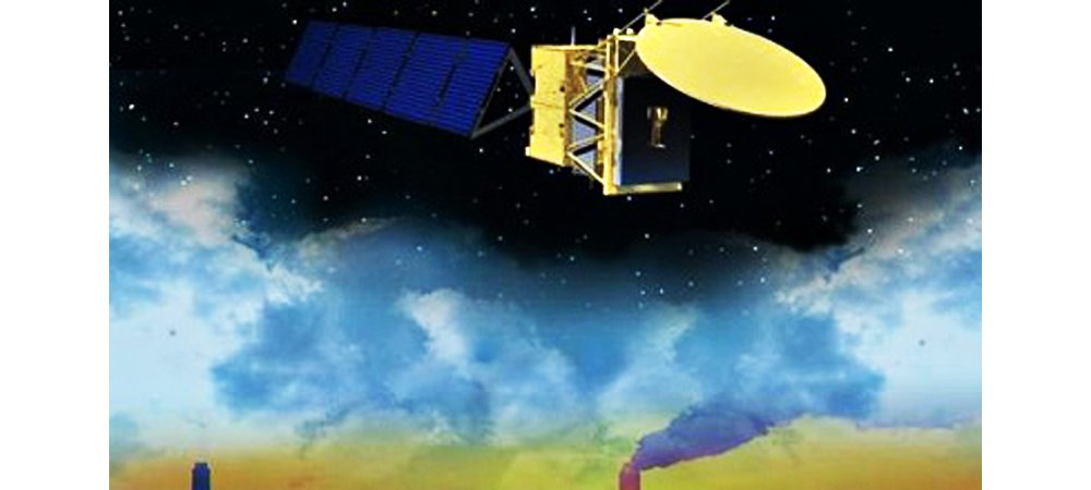 A representation of the Airbus-produced EarthCARE (Earth Clouds, Aerosols and Radiation Explorer) satellite.