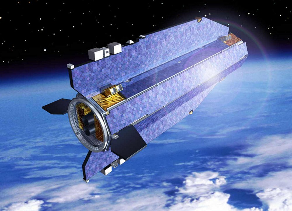 A representation of the GOCE (Gravity-Field and Steady-State Ocean Circulation Explorer) satellite, built by Airbus for the European Space Agency.