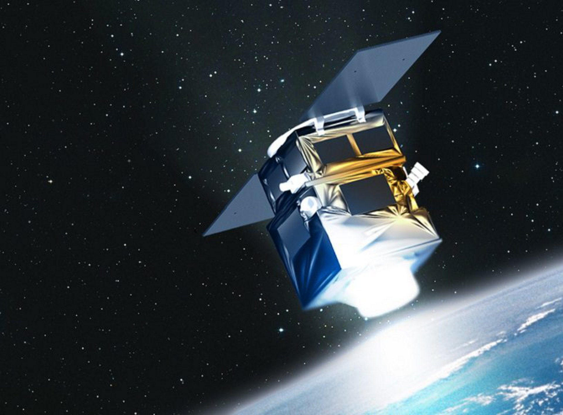 A representation of the Airbus-produced PerúSAT-1 very-high-resolution Earth observation satellite, which was launched in 2016.