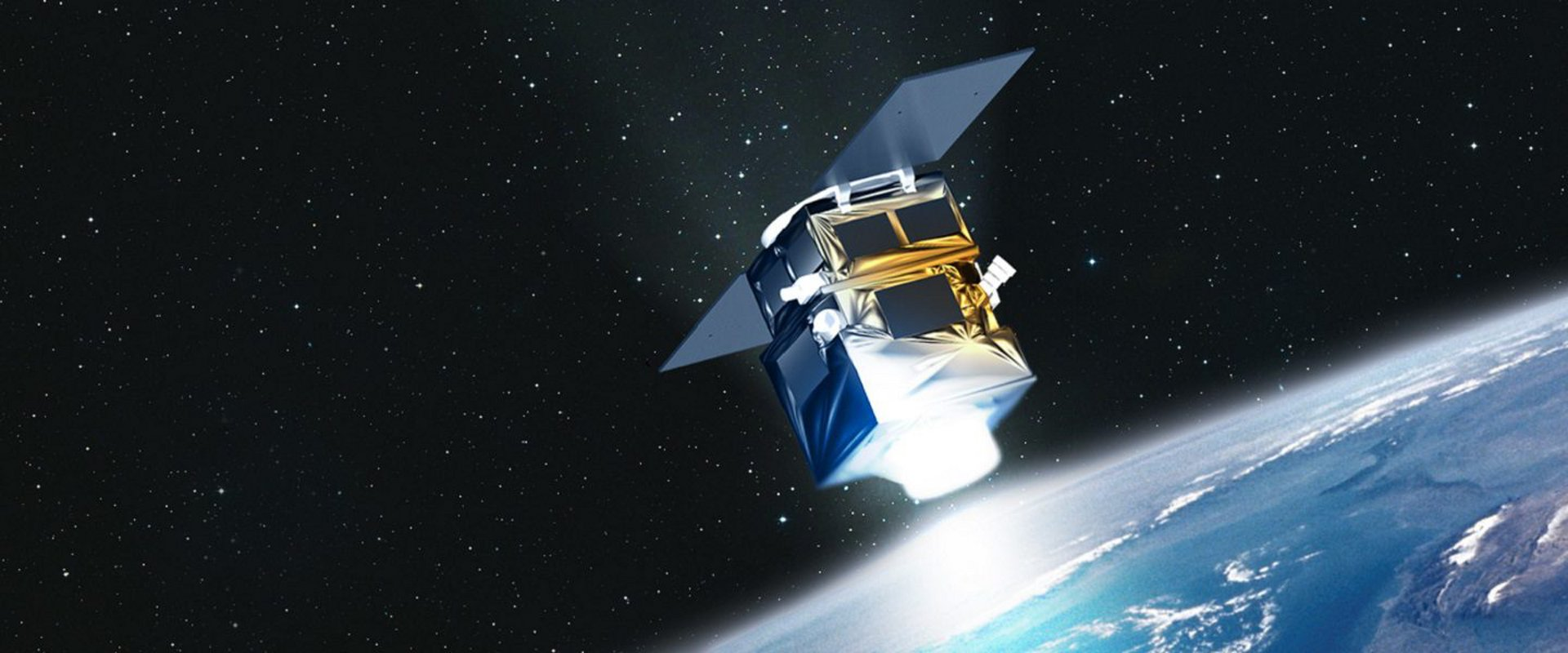 A representation of the very-high-resolution PerúSAT-1 Earth observation satellite, which was produced by Airbus.