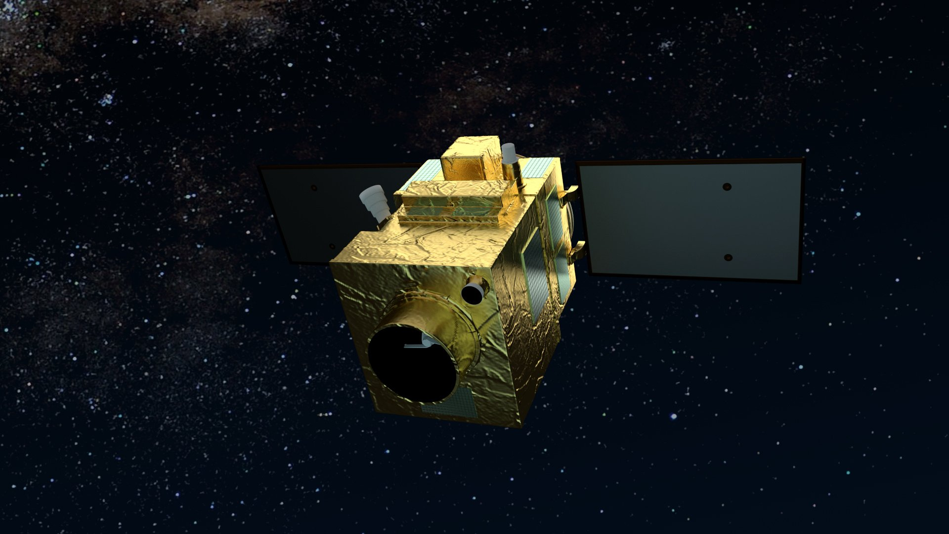 A computer rendering of the Airbus-produced PerúSAT-1 very-high-resolution Earth observation satellite in orbit.