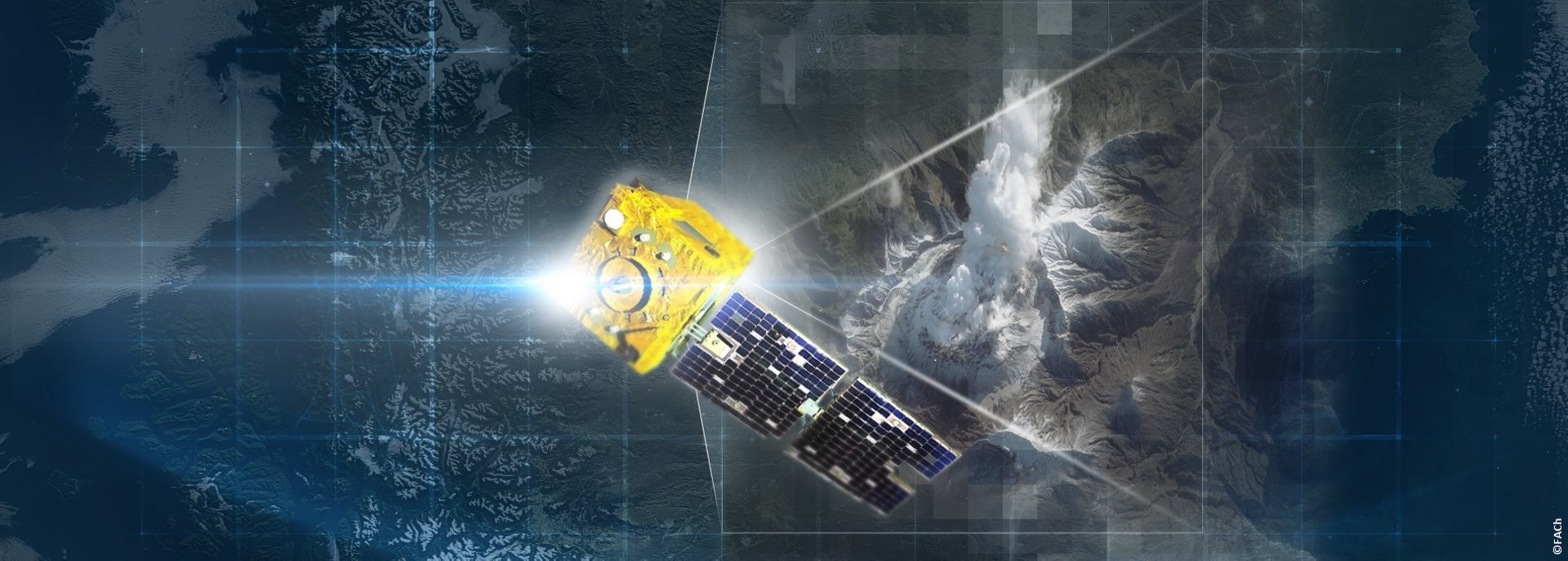 A representation of the Airbus-produced SSOT Earth observation satellite for the Chilean Air Force.