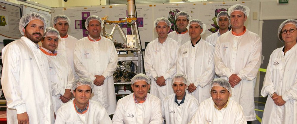 A group photo of the engineers that supported production of the Airbus-built SSOT Earth observation satellite.