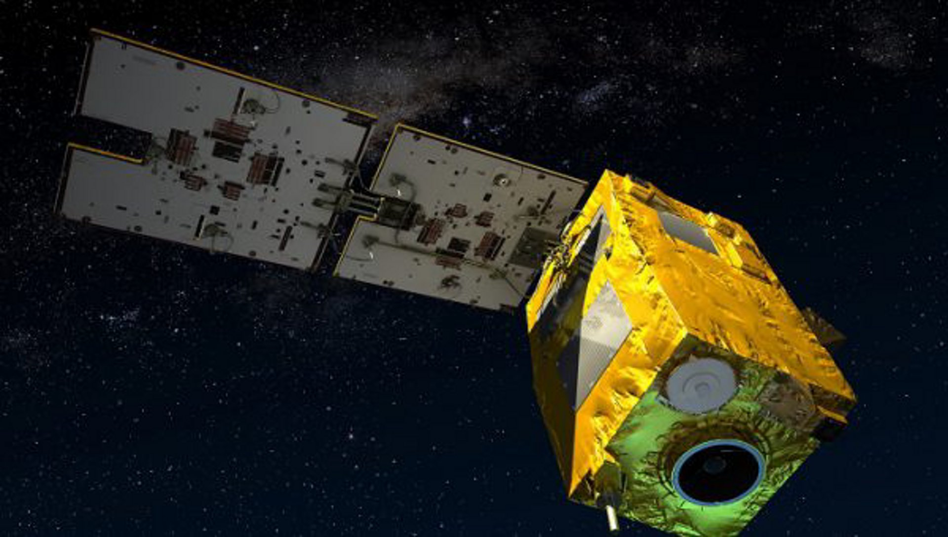 A computer rendering of the in-orbit configuration for the SSOT (Sistema Satelital de Observación de la Tierra) Earth observation satellite, built by Airbus for Chile.