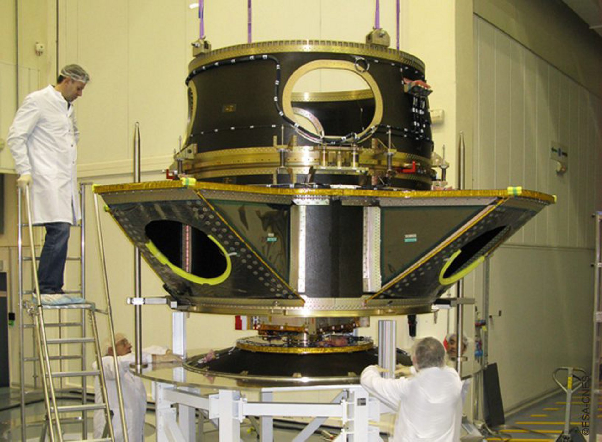 Integration of the multi-payload carrying structure for the launch that orbited Chile's first high-resolution operational Earth observation satellite – the Airbus-produced SSOT – among other spacecraft