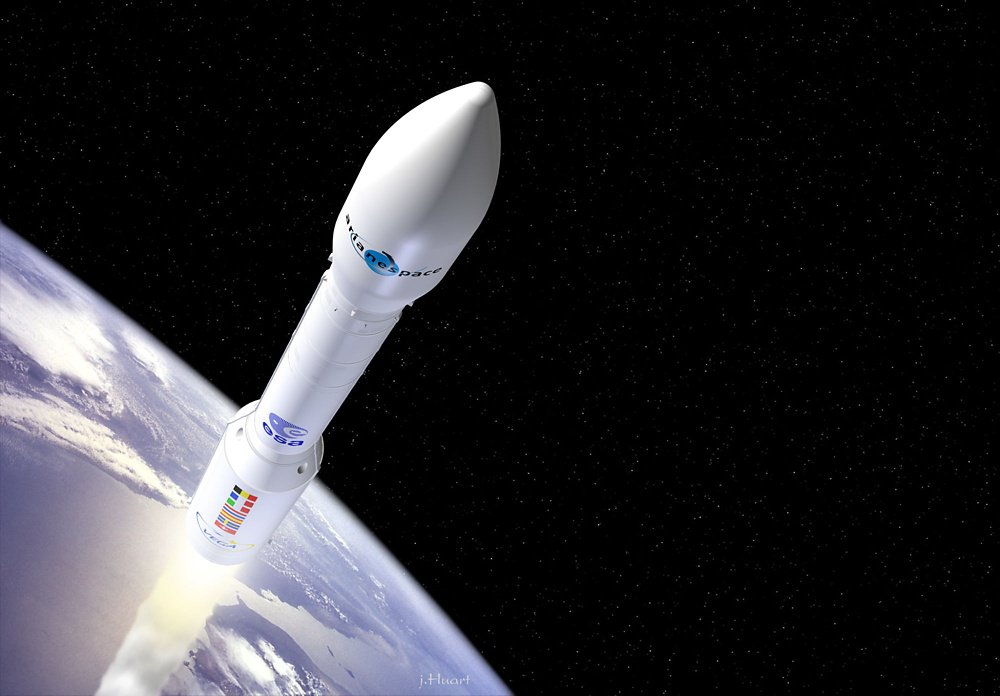 A representation of the Vega light-lift launch vehicle ascending from Earth.