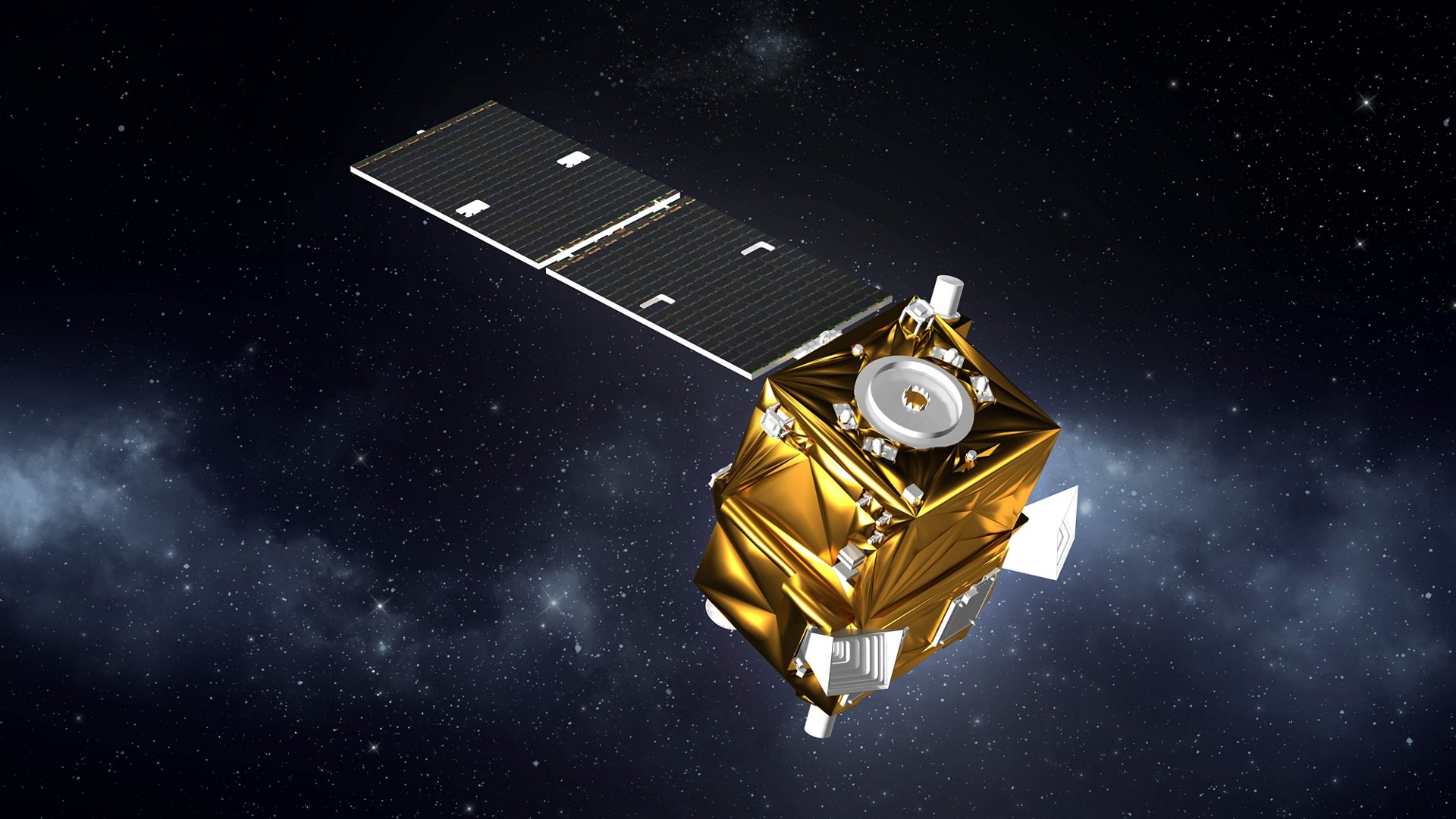 A representation of Vietnam's first remote sensing satellite – the Airbus-produced VNREDSat-1 – in orbit.