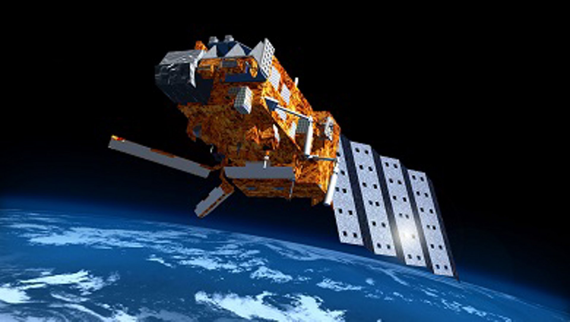 A representation of the Airbus-produced Metop-A meteorological satellite, which was launched in 2006.