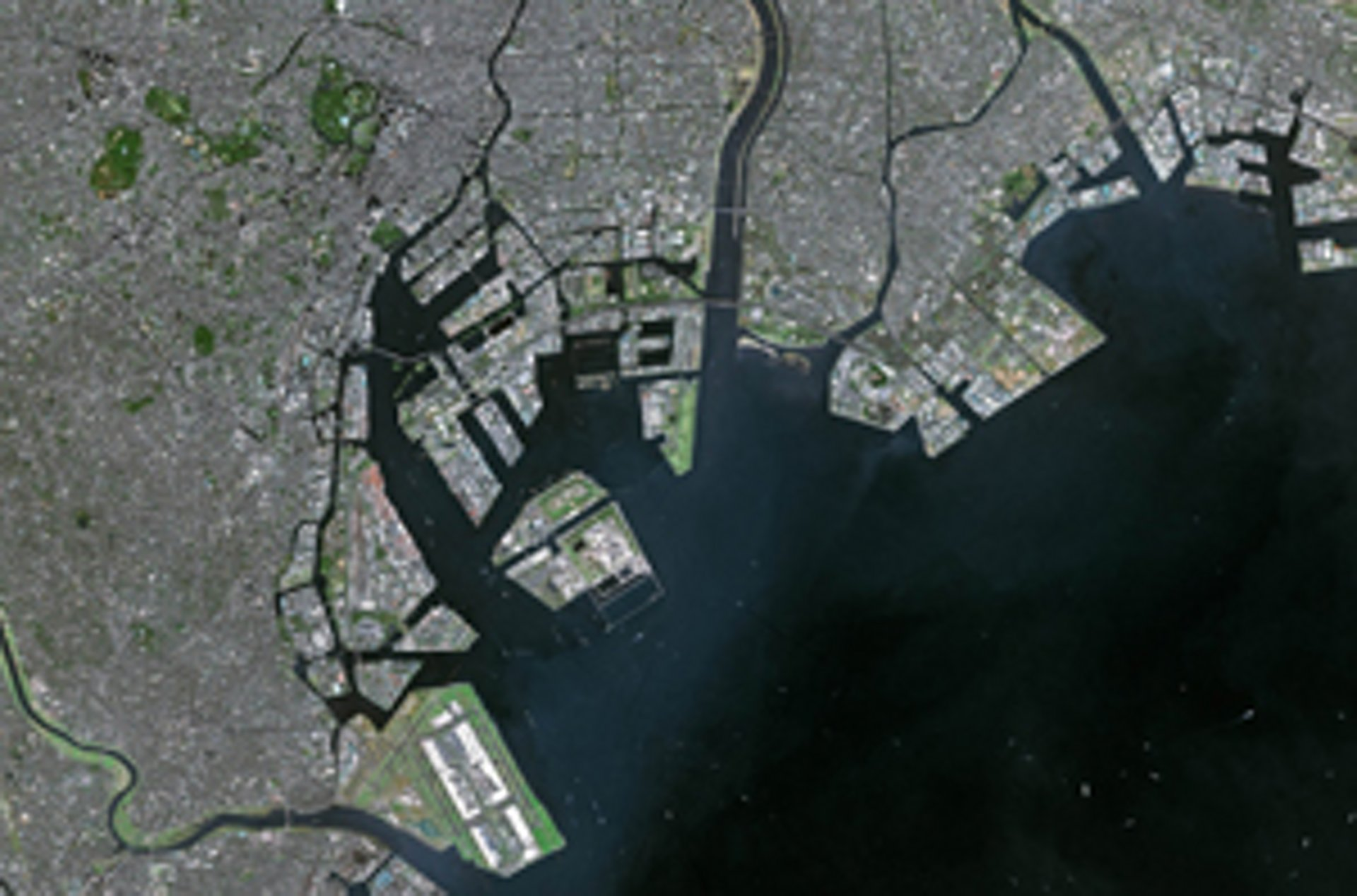Satellite image of a port area provided by an Airbus-produced Earth observation satellite.