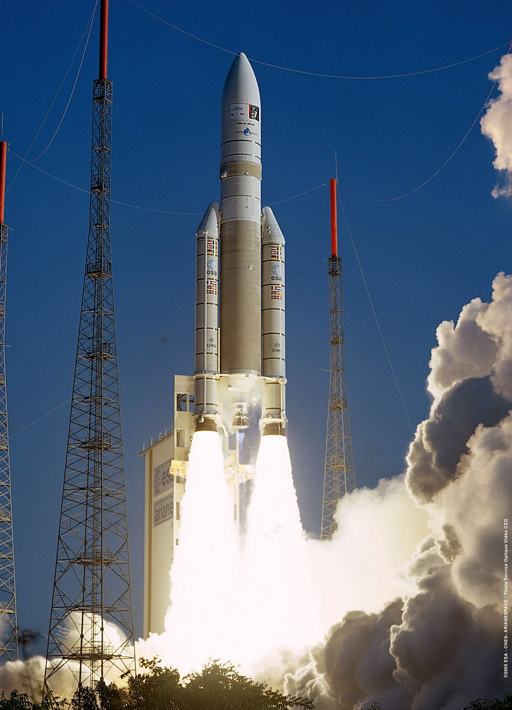 An Ariane 5 lifts off from the Spaceport in French Guiana, where this heavy-lift launch vehicle is operated by Arianespace.