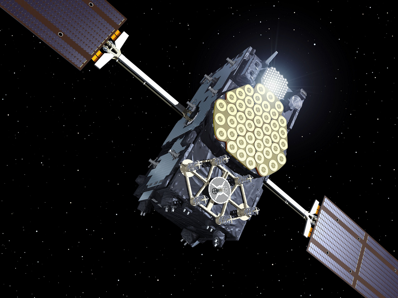 A representation of an Airbus-produced Galileo satellite in orbit.