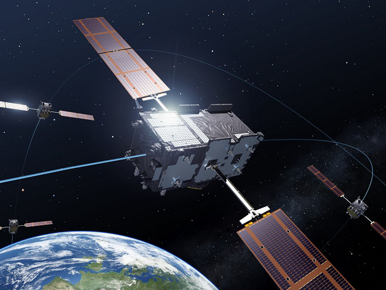 A representative graphic for Europe's Galileo satellite constellation, for which Airbus Defence and Space has offered major system expertise.