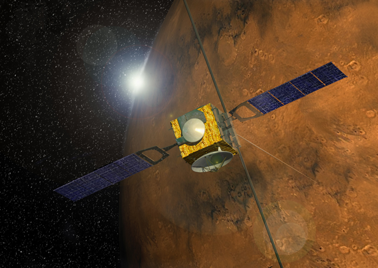 A representation of Europe's Mars Express planetary explorer spacecraft, which was launched in 2003.