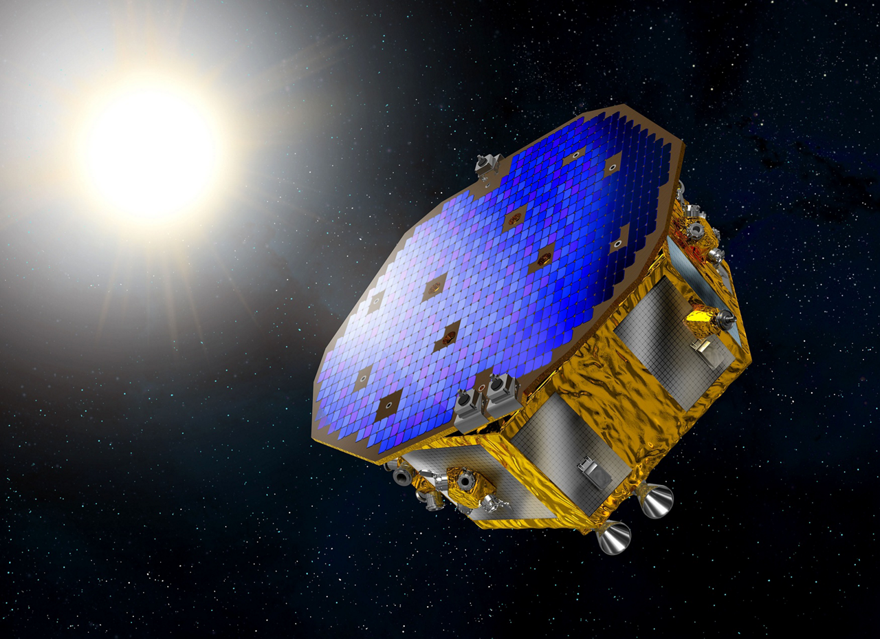 A representation of the European Space Agency's LISA Pathfinder technology demonstrator, which was produced by Airbus.