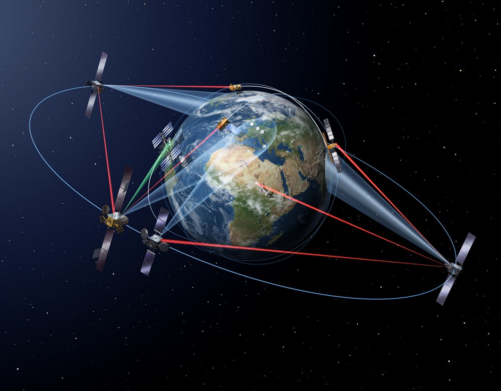 A representation of Sentinel Earth observation satellites as part of Airbus' SpaceDataHighway.