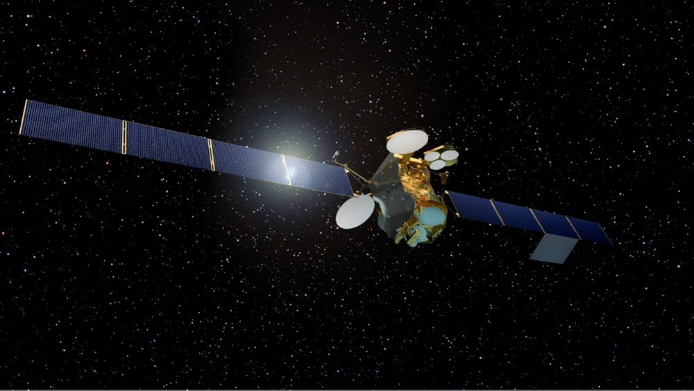 A computer rendering of the SES-14 satellite, developed by Airbus with electric propulsion capabilities.