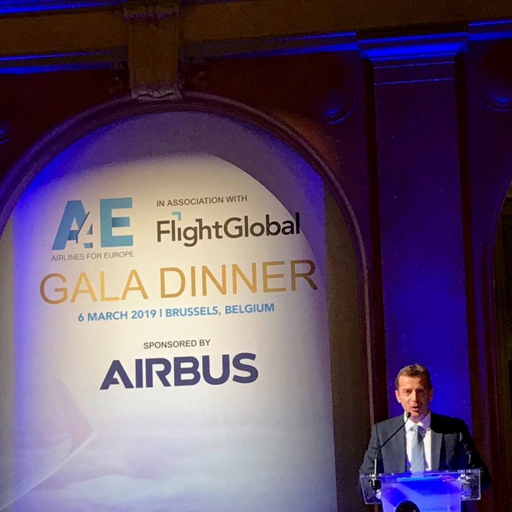 Guillaume Faury speaking at the Airlines 4 Europe (A4E) Aviation Summit Gala Dinner in Brussels, 06.03.2019