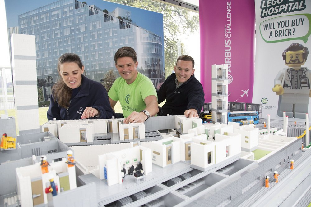 Clatterbirdge Cancer Charity have the Lego Model of the new Clatterbridge Cancer Hospital on display in Airbus at Broughton which will attract employees to buy and place a brick or two to help fund the new hospital and complete the Lego model.