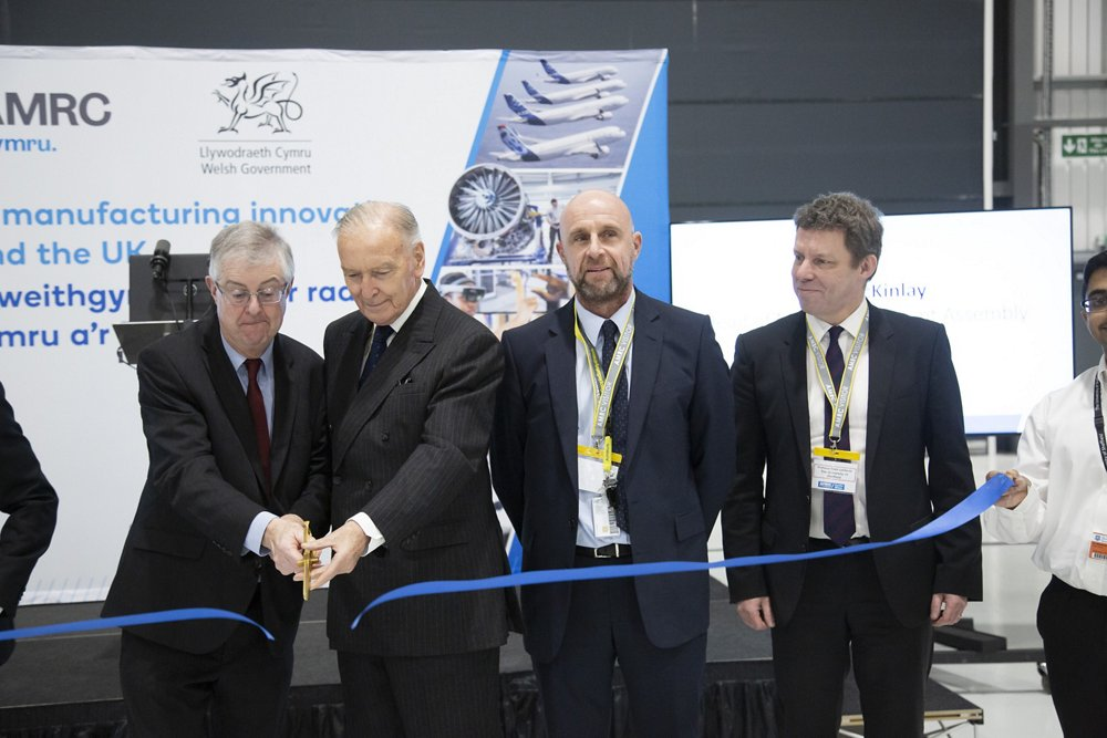 Airbus AMRC building is officially opened with AM Mark Drakeford along with Lord Barry Jones, Airbus Paul McKinlay, AM Ken Skates, Professor Koen Lamberts, University of Sheffield and Coleg Camria's David Jones.
