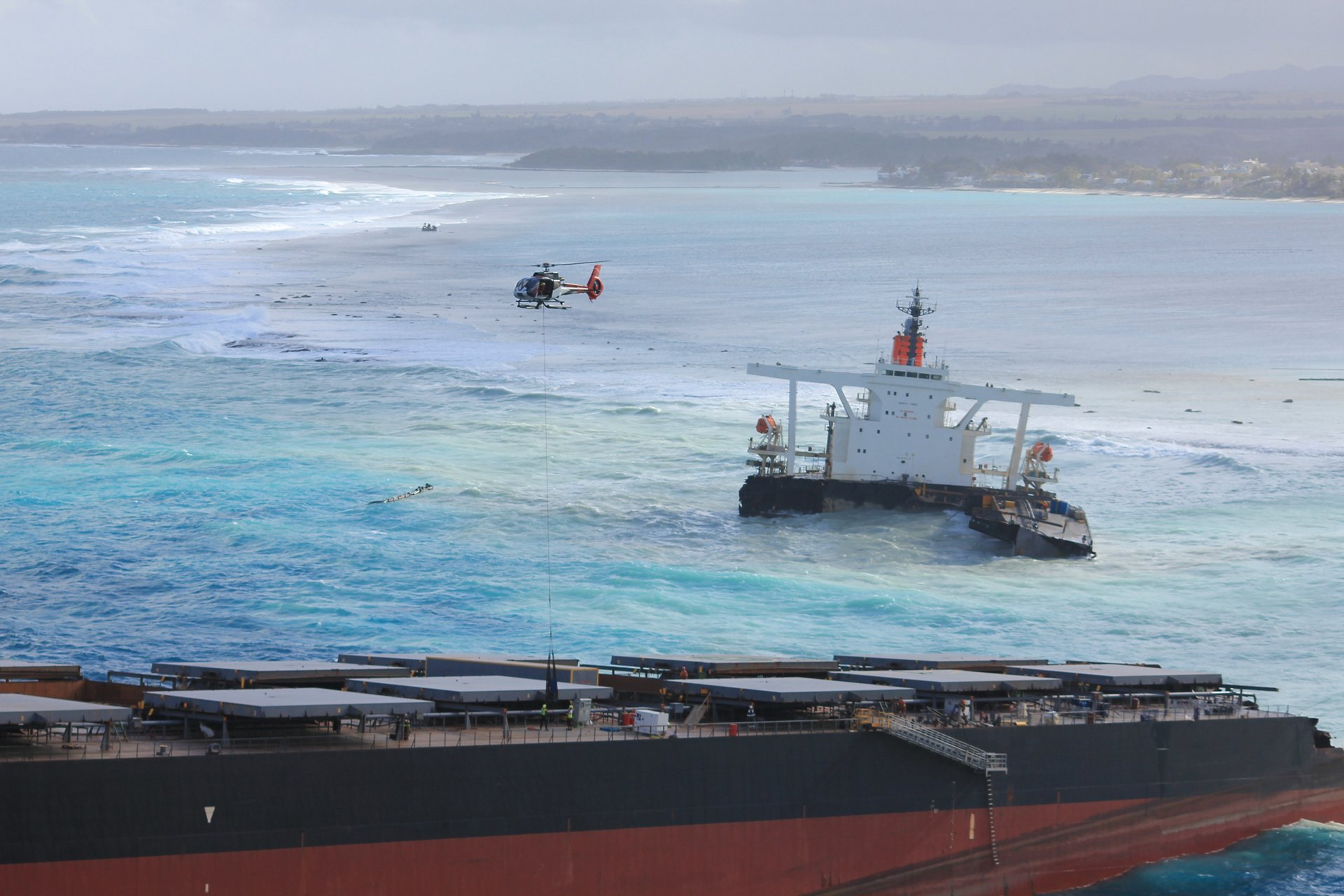 On 25 July 2020, the Japanese bulk carrier Wakashio ran aground on a coral reef in Mauritius. In the weeks that followed, the ship began leaking oil, and broke apart in mid August.