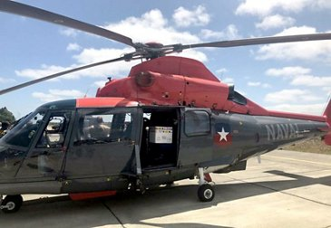Chilean Navy AS365 Panther distributes COVID-19 vaccines