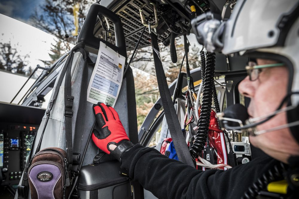An ADAC H145 pilot prepares to take off on a rescue mission