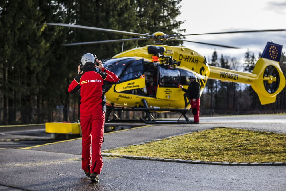 ADAC's H145 helicopter about to take off in the Bavarian Alps