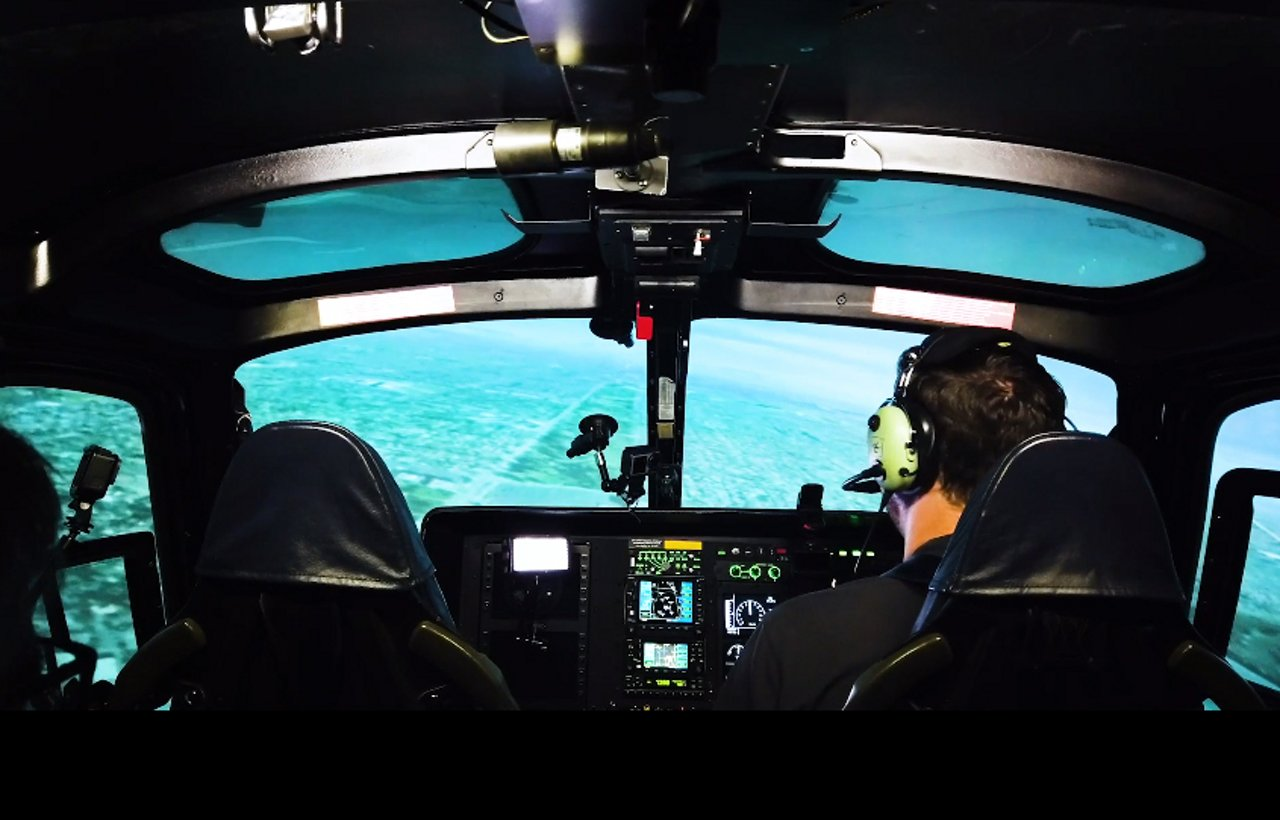 An Airbus AS350 Full Flight Simulator is used to train helicopter pilots for operations in bad weather.