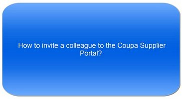 How to invite a college to the Coupa Supplier Portal