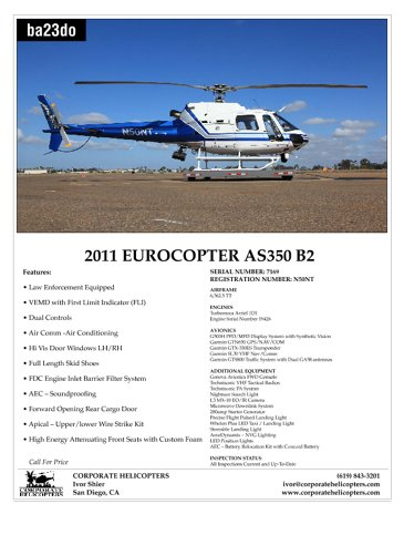 AS350 B2 Helicopter for Sale