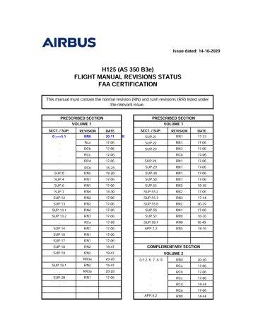 H125 (AS350B3e) FLM SRD