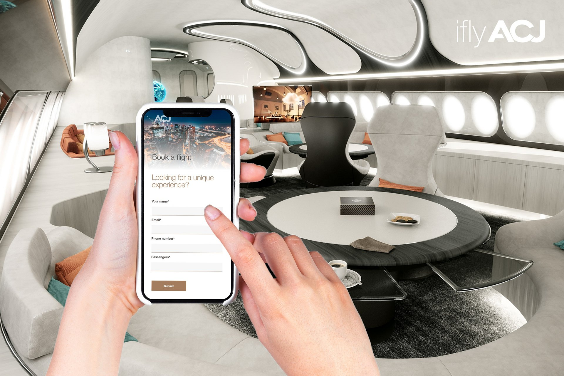 The iflyACJ website allows VIP travellers to easily plan their world above the world travel with ACJ charter operators