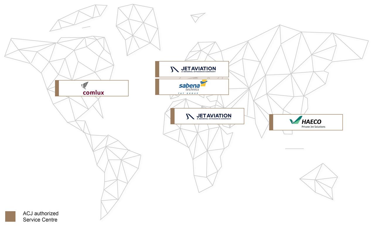 Service Centre Network ACJ Map