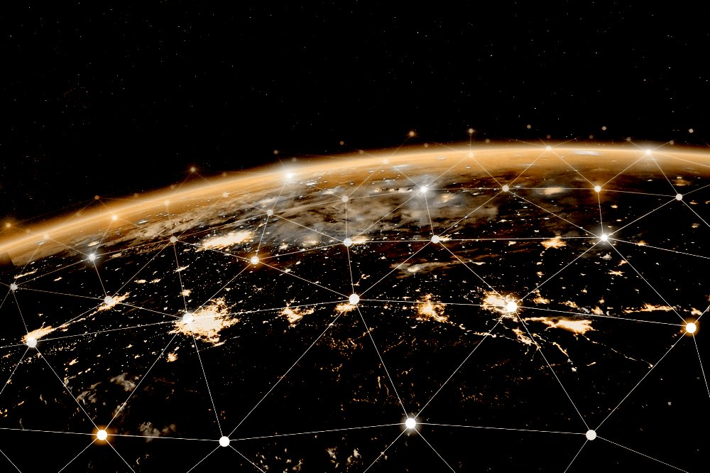 Global telecommunication network, nodes connected around earth, internet, worldwide communication