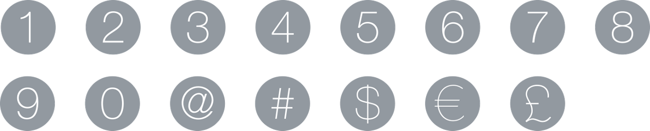 Icons Icon Set Flat Numbers Currency