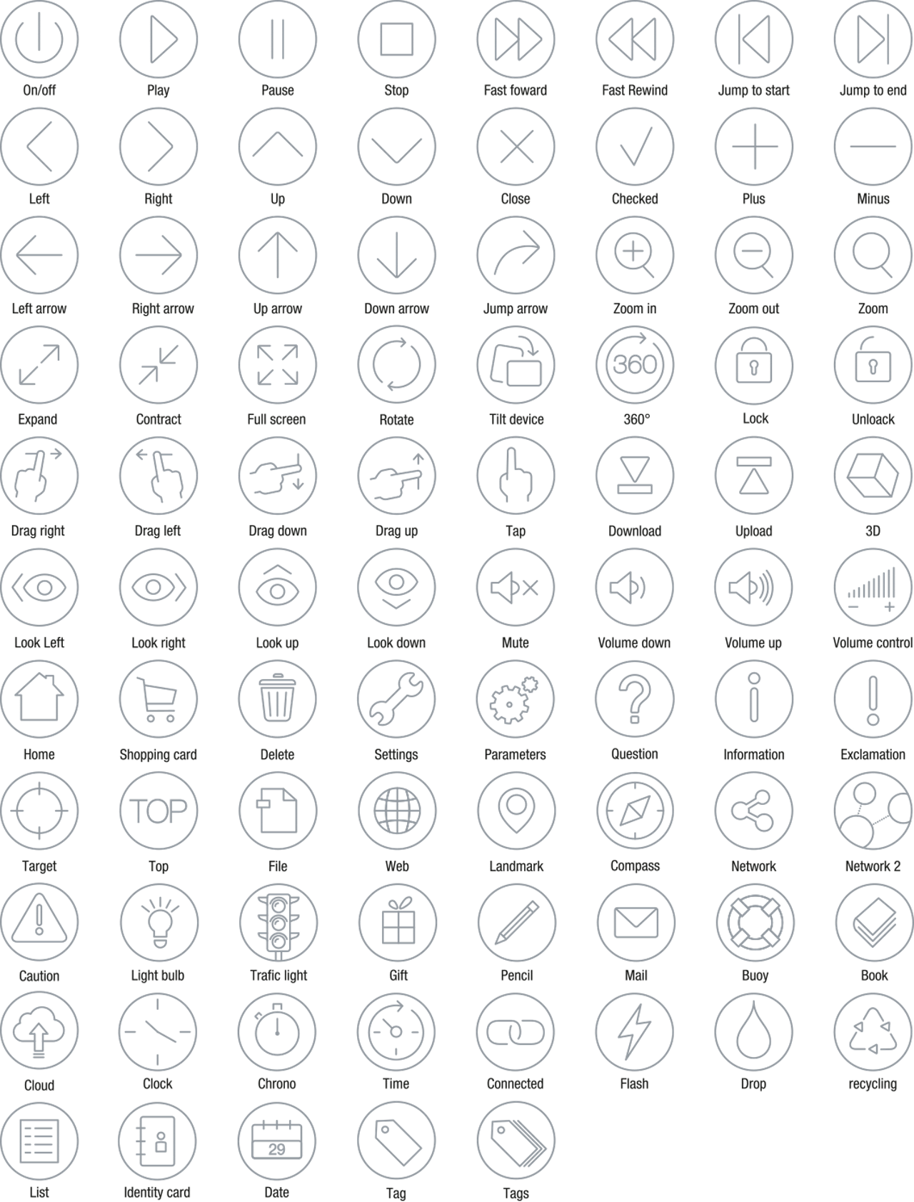 Icons Icon Set Outline Navigation