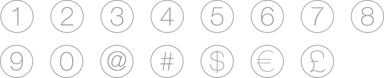 Icons Icon Set Outline Numbers Currency