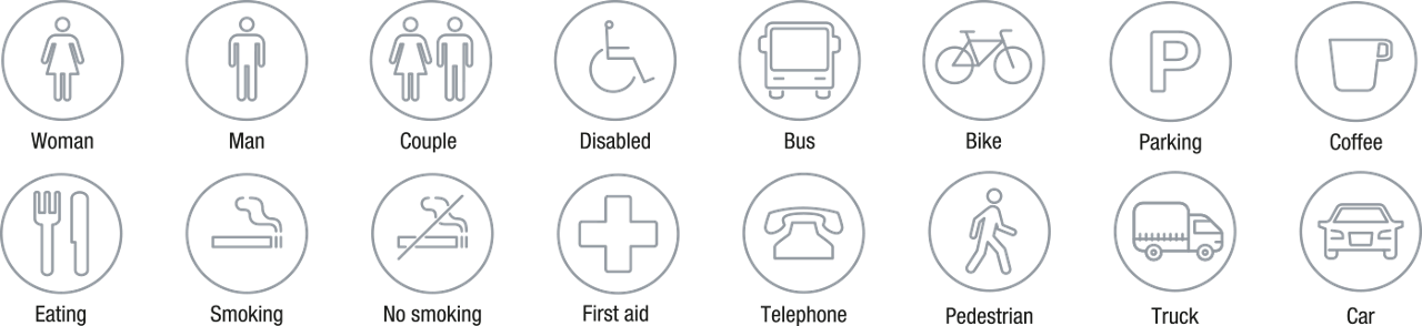 Icons Icon Set Outline Signagewayfinding