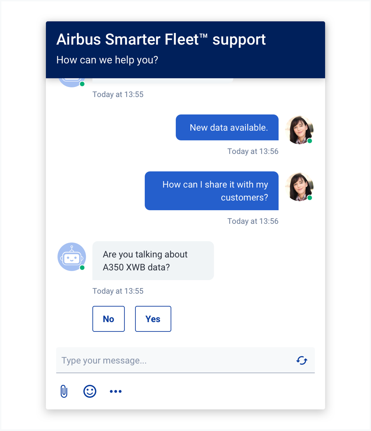 You can see a chat interface where a woman talking with a bot.