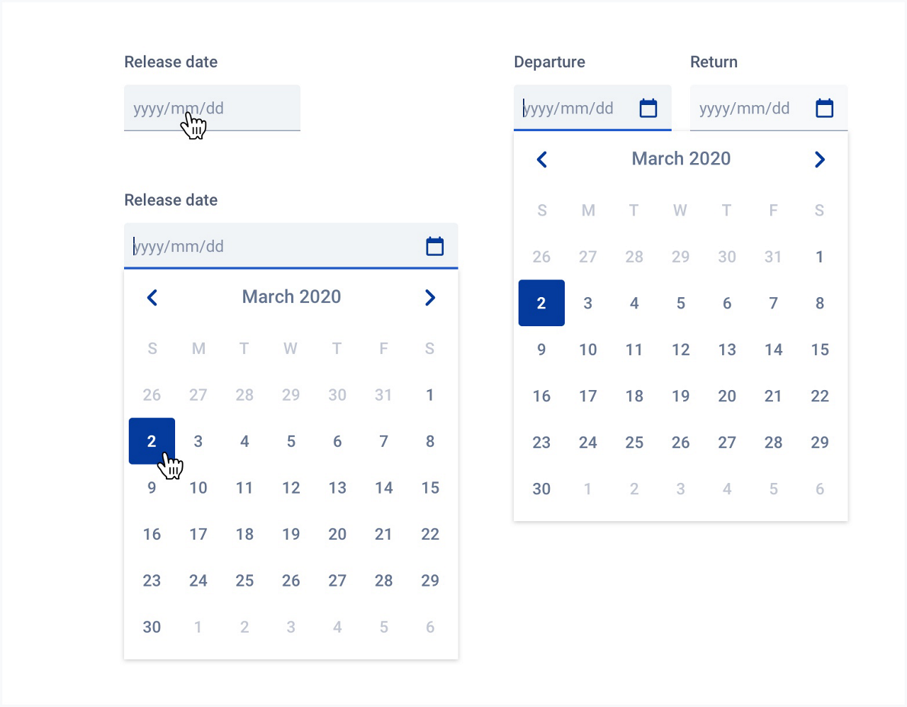 You can see all different state of date picker: simple date picker, opened date picker and range date picker.